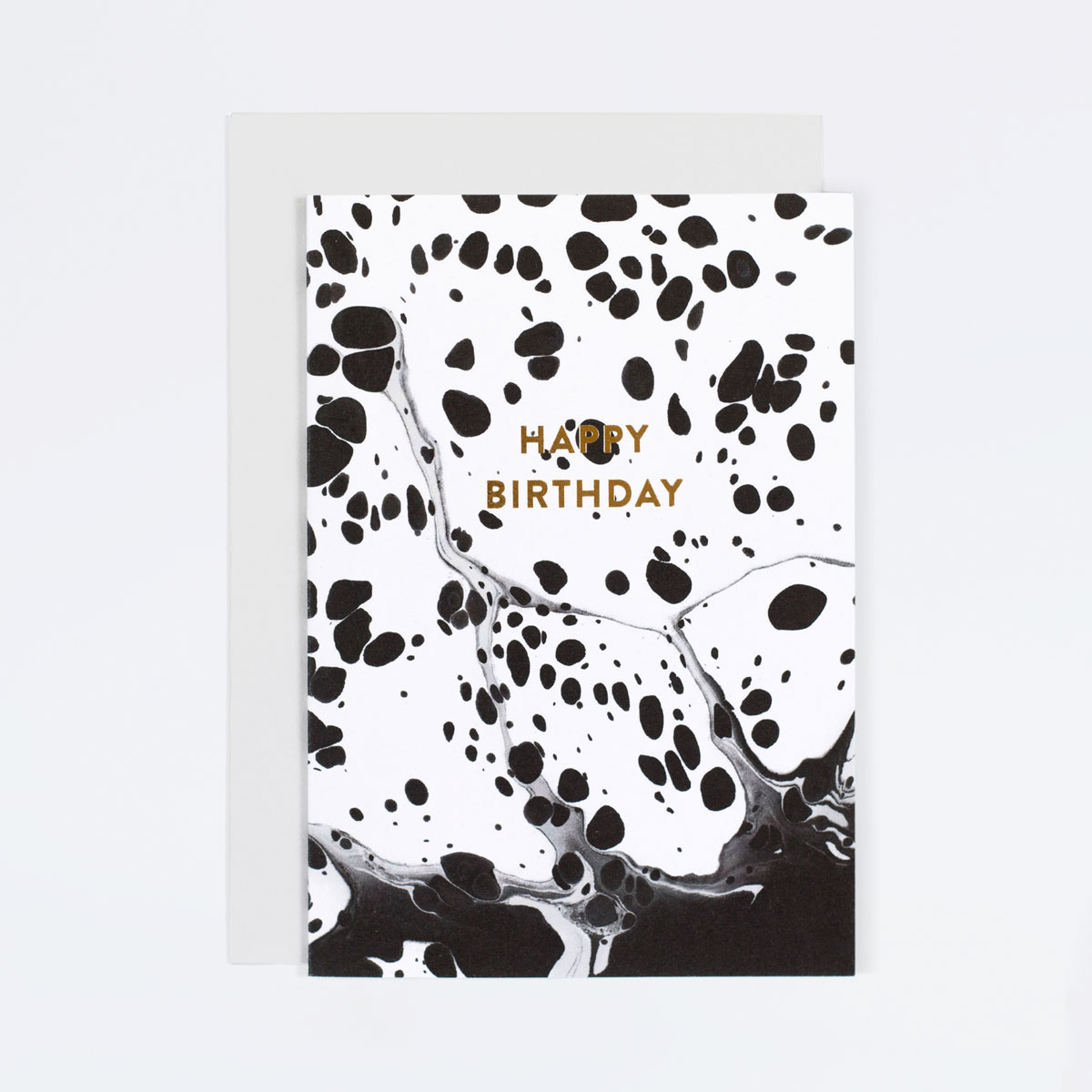 Black and White Marble Birthday Card