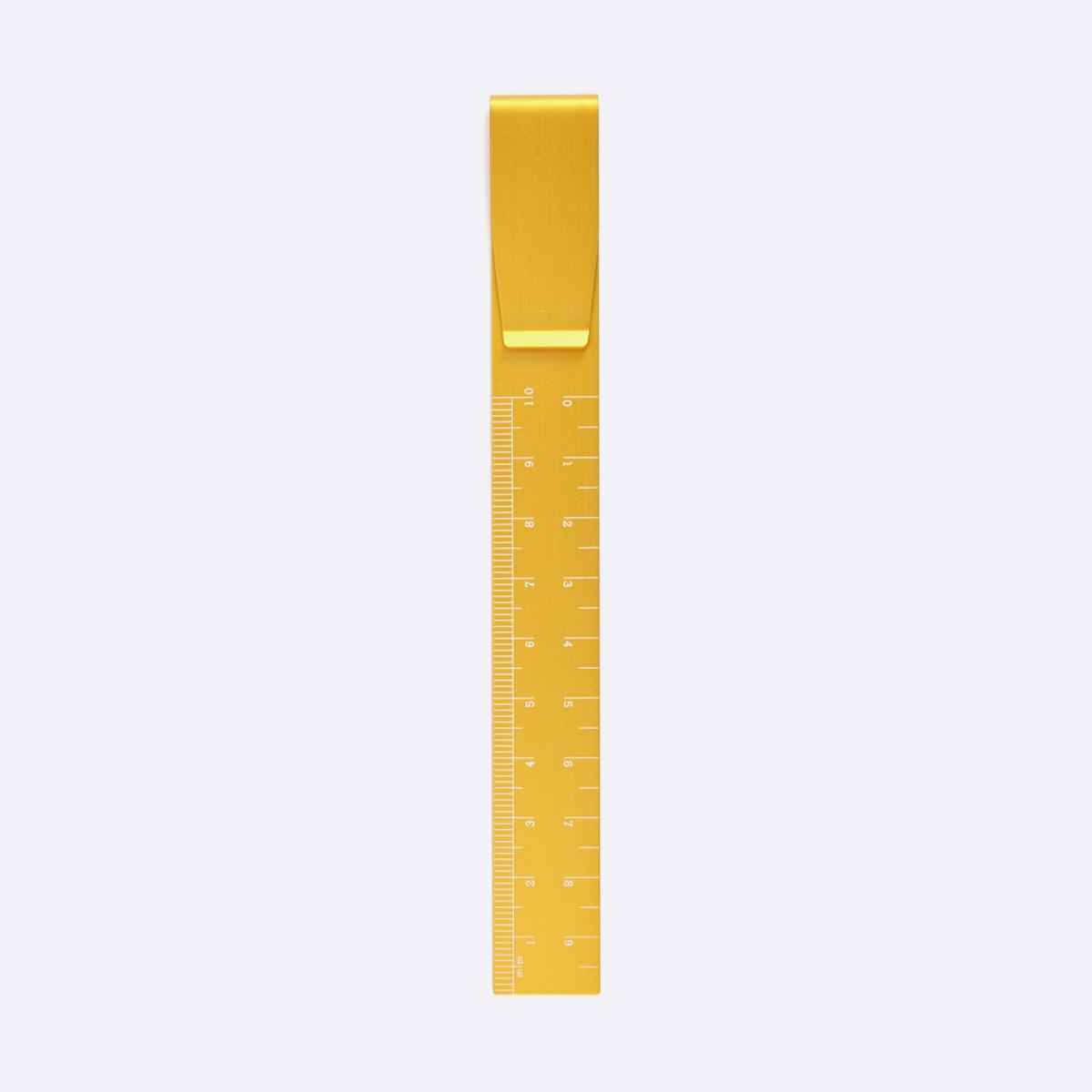 Aluminium Clip Ruler — Yellow