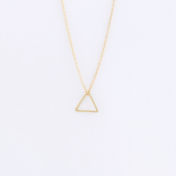 small brass triangle necklace