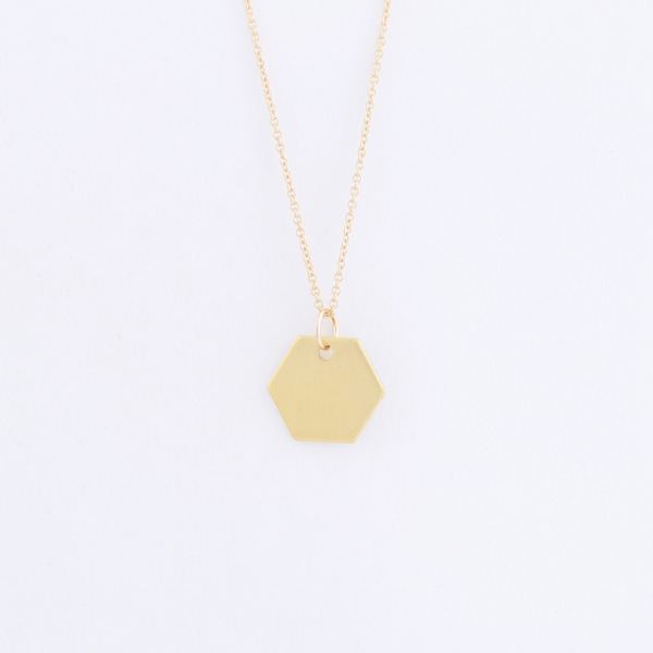 gold hexagon tag necklace