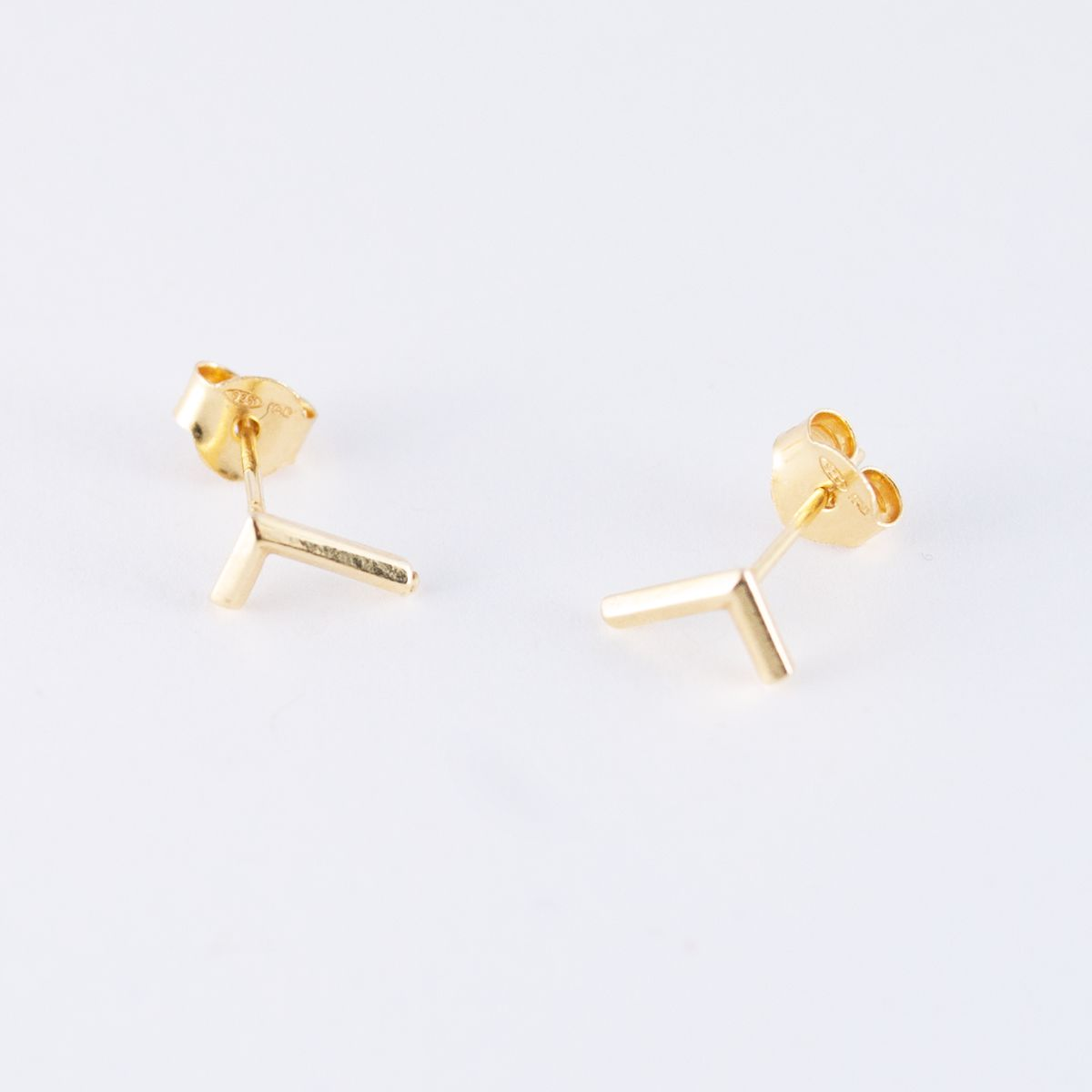 gold l shaped earrings