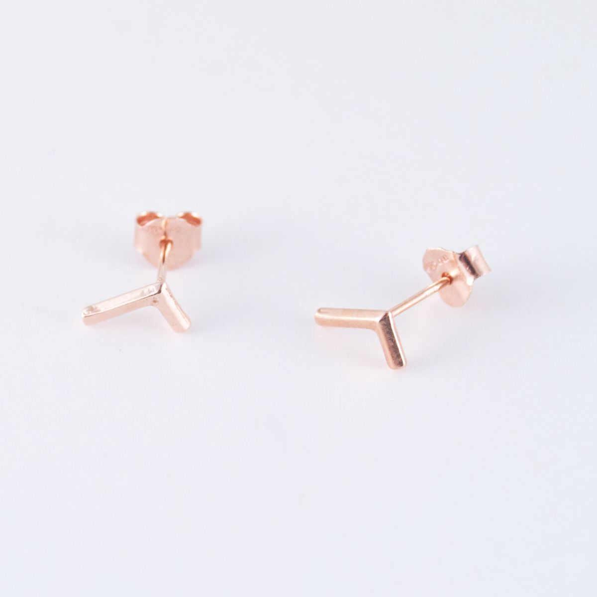 rose gold l shaped earrings