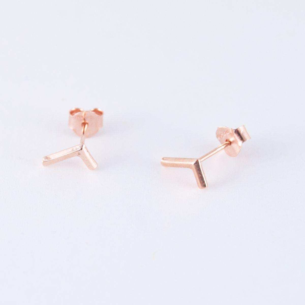 rose gold l shaped earrings