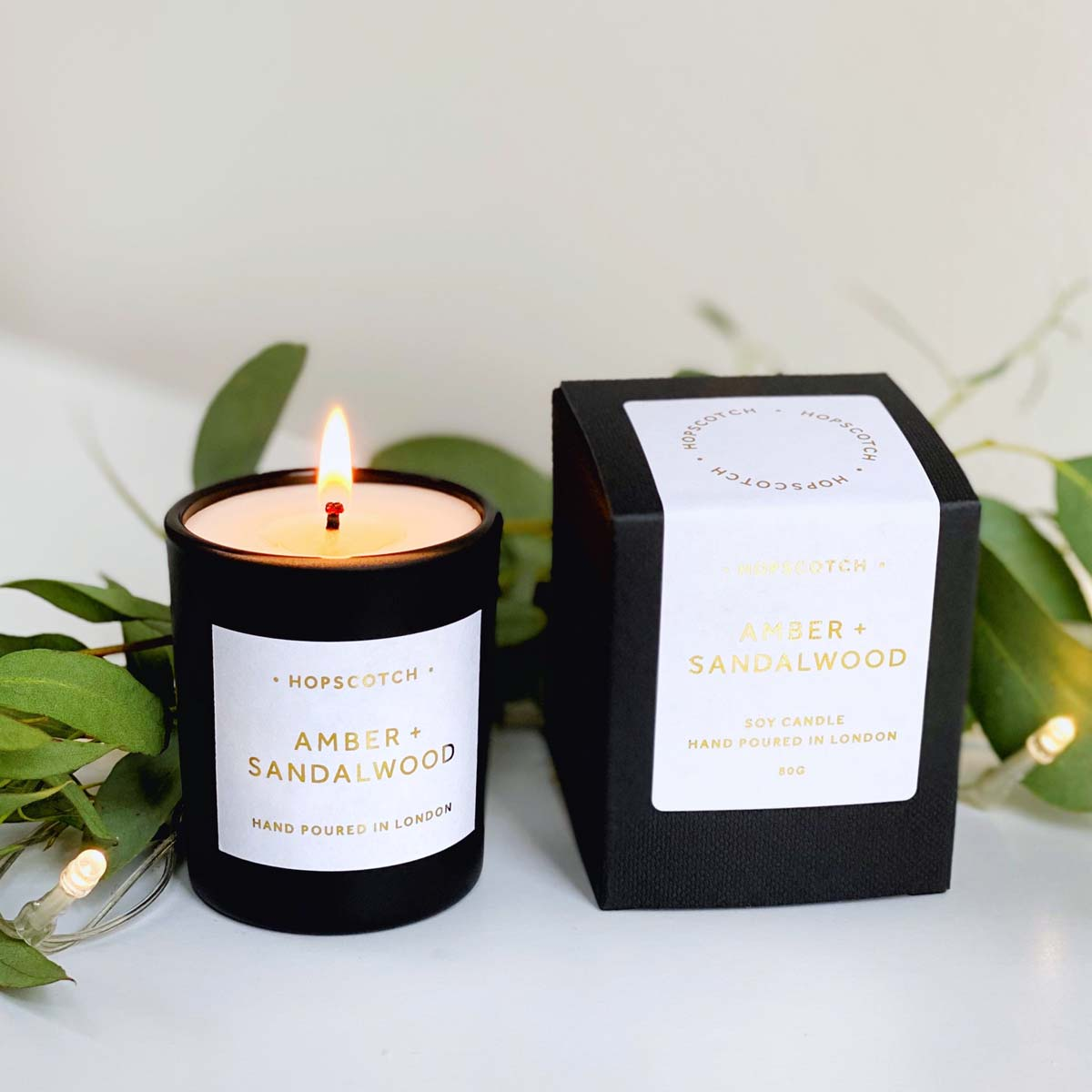 Amber Sandalwood Scented Soy Candle