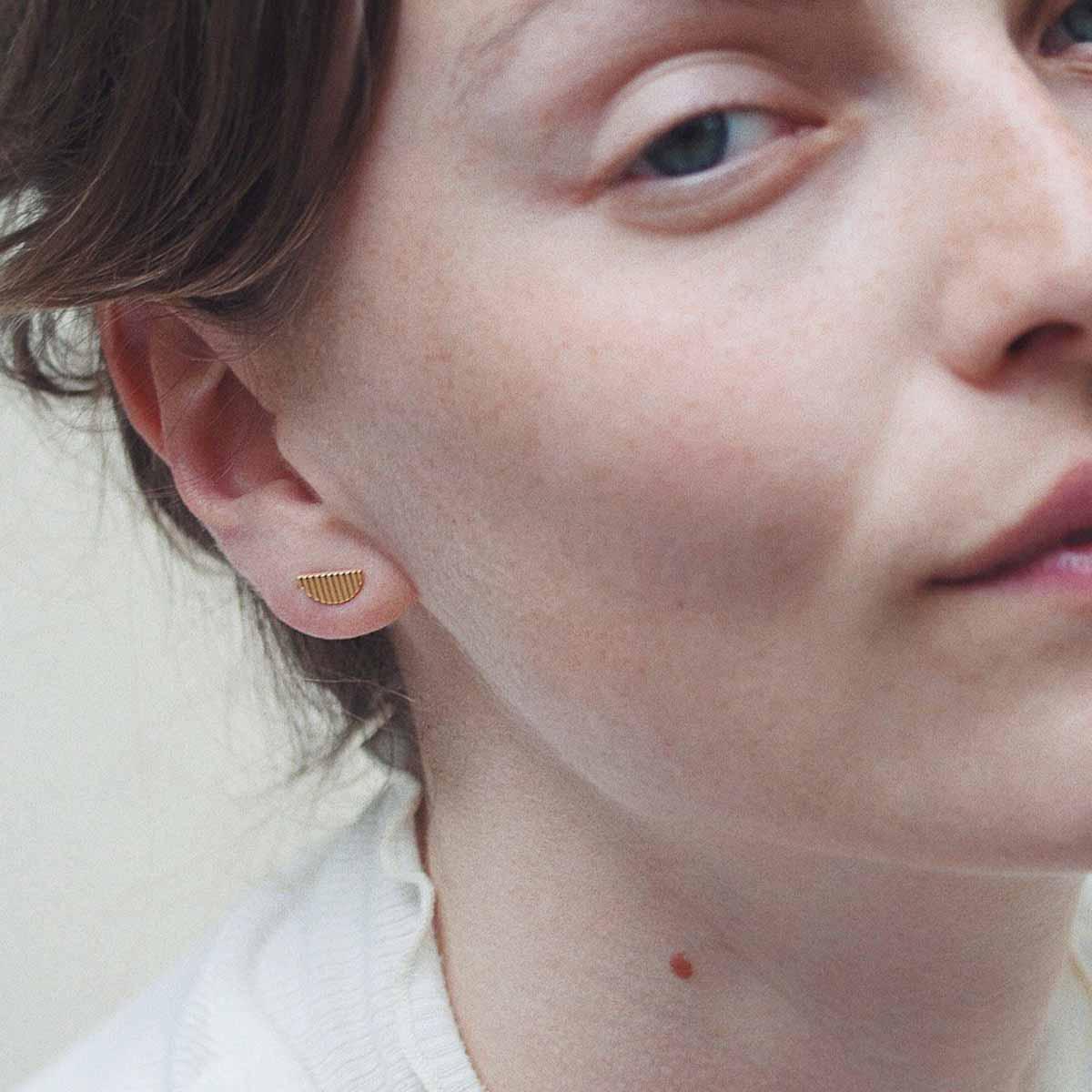 gold half moon earrings