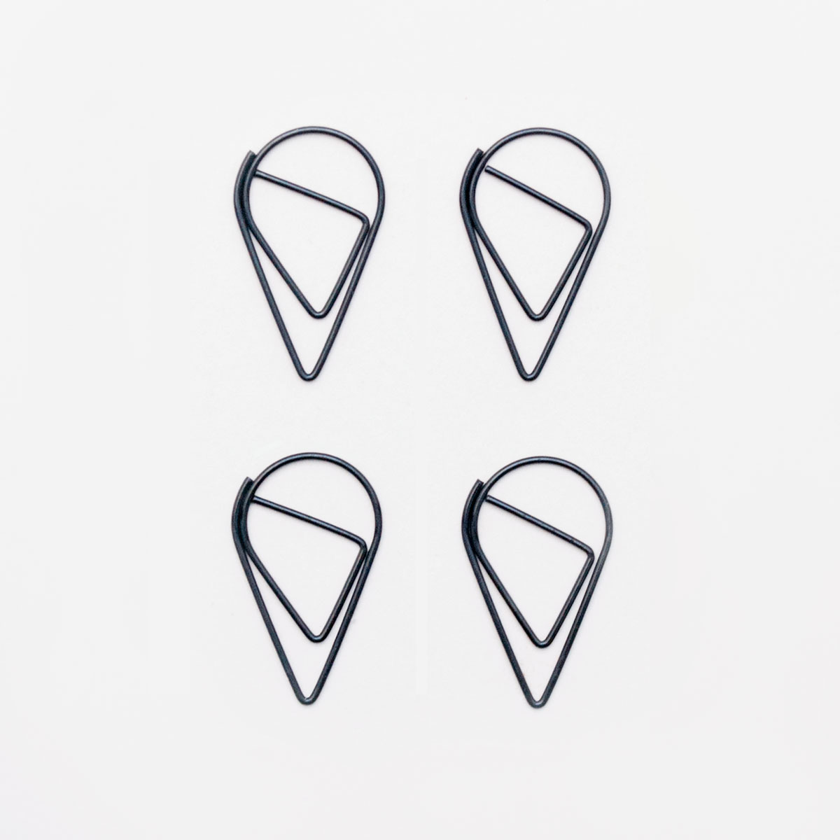large black teardrop paper clips