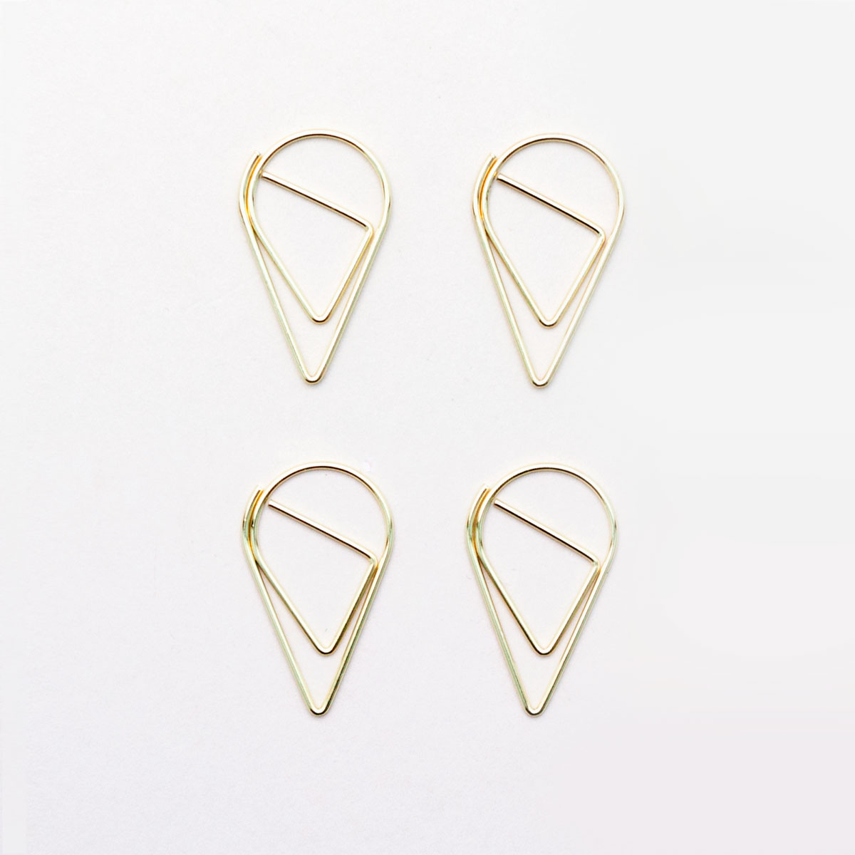 large gold teardrop paper clips
