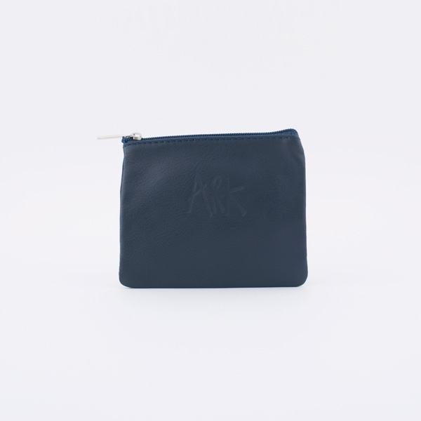 Navy Leather Mini Pouch