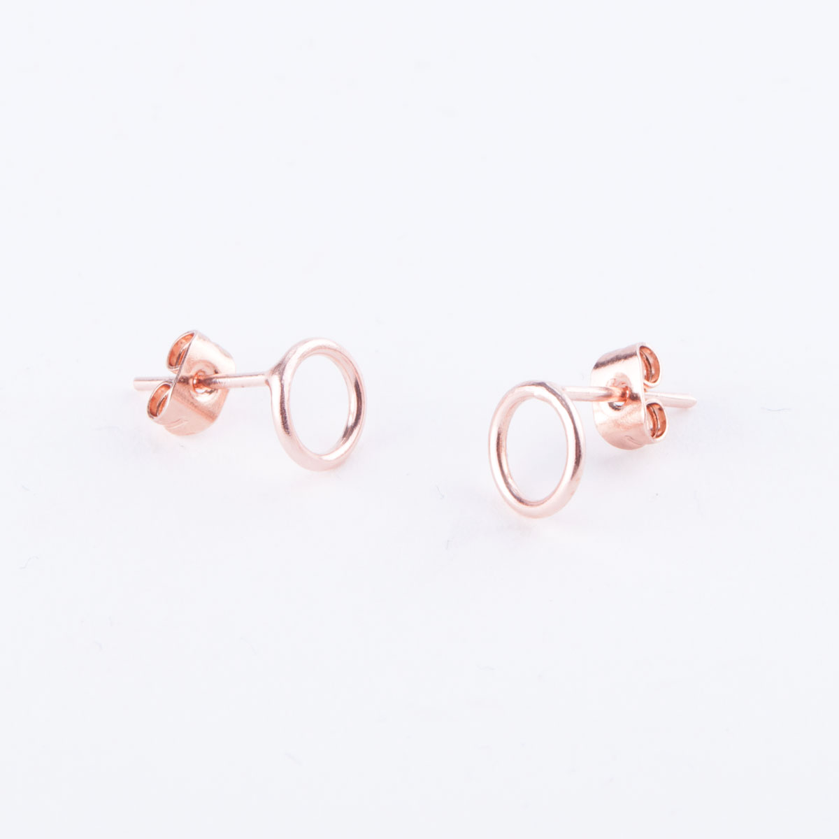 rose gold small circle earrings