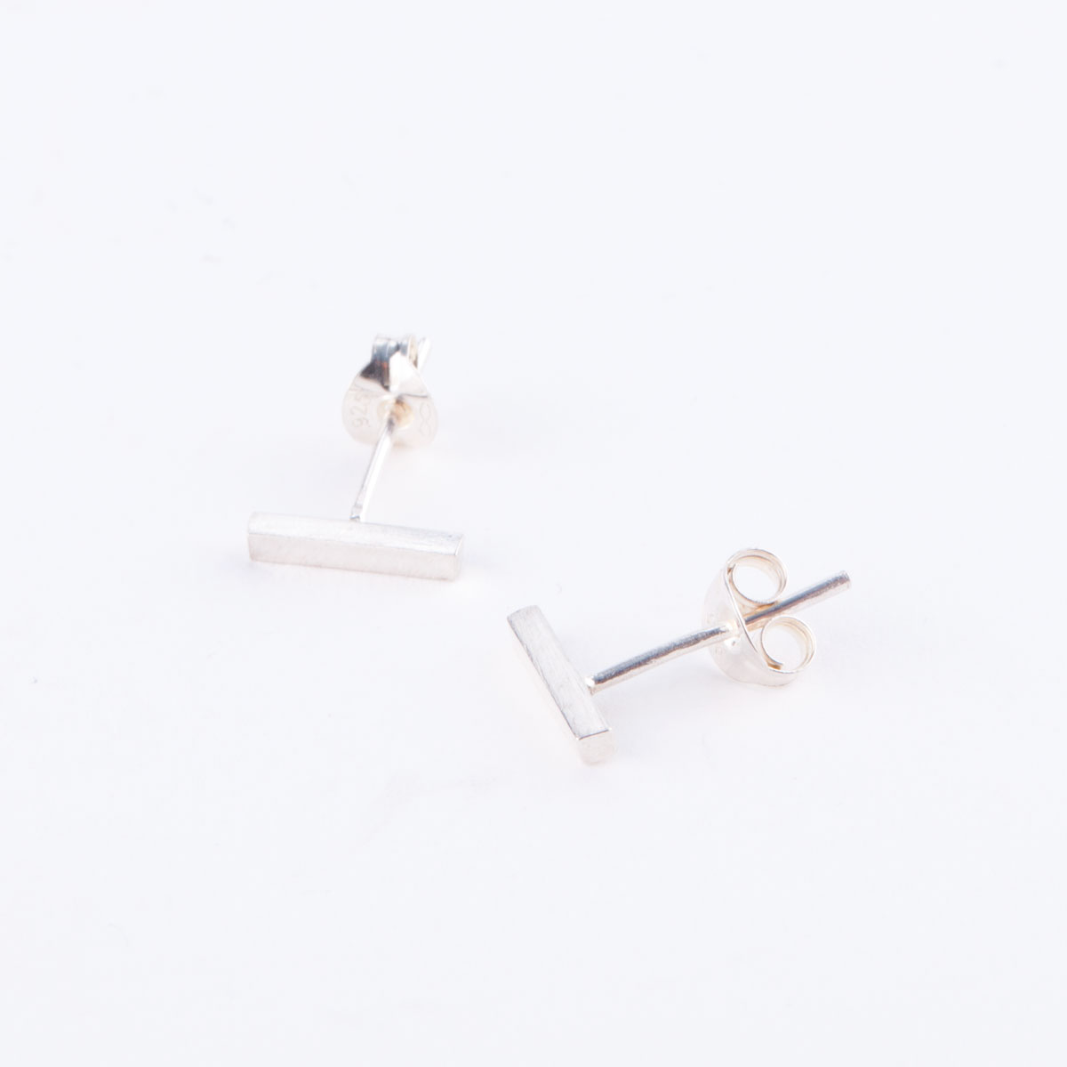 silver staple earrings