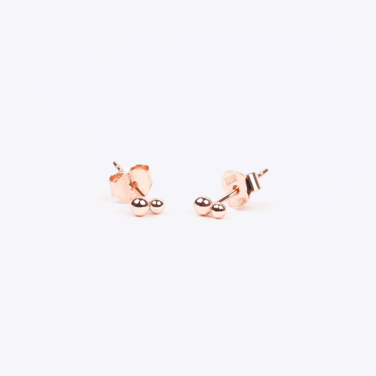 rose gold double dot stud earrings