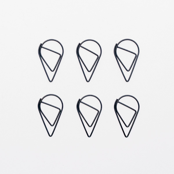 six gold teardrop paper clips hopscotch