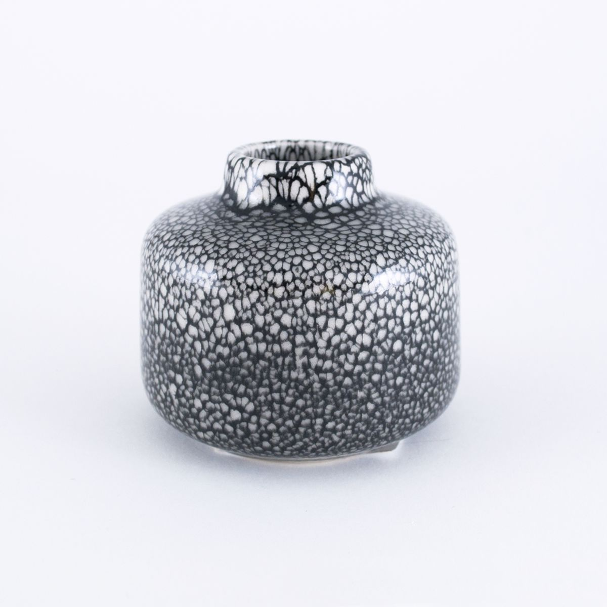 small black and white vase