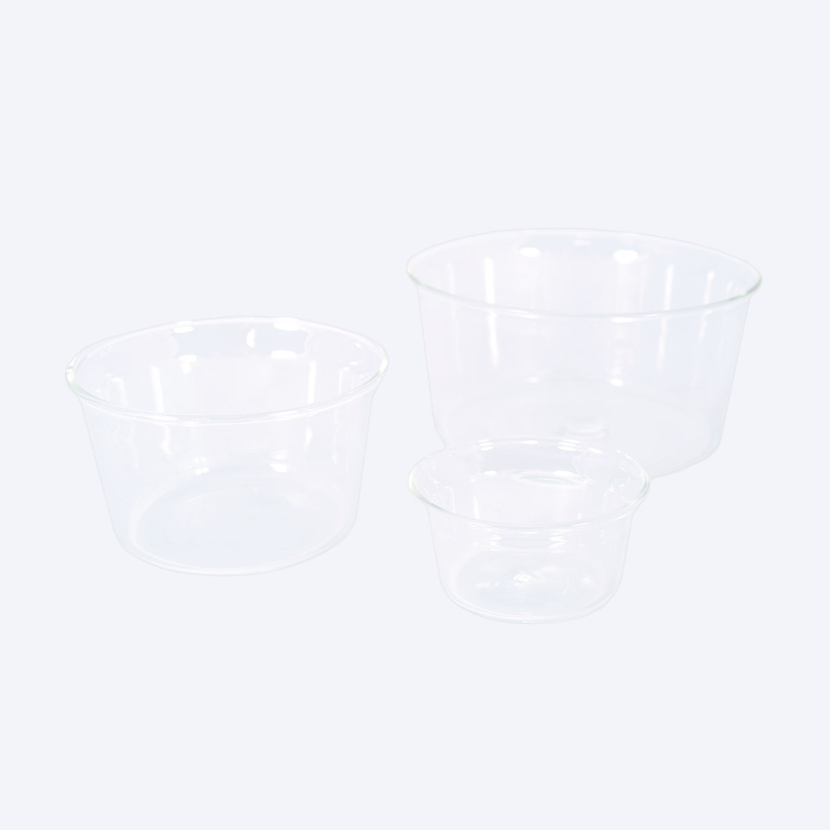 three glass bowls