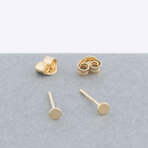gold tiny circle stud earrings